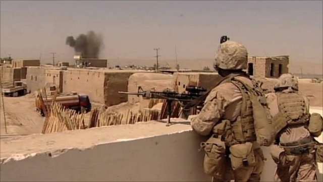 British troops on roof as bomb is dropped on Taliban position