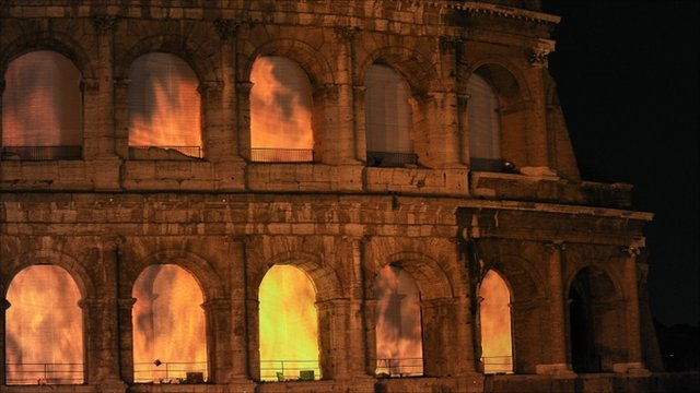 "Video installation ""The Colosseum on Fire"""