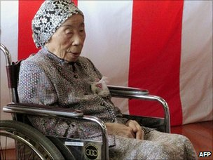 Chiyono Hasega, 113, attends the Japan's Respect-for-the-Aged-Day ceremony at Kiyama town in Saga prefecture (20 September)