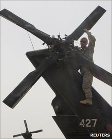 US helicopter mechanic in Afghanistan