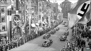 Adolf Hitler in procession in Nuremberg in 1938