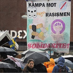 "Banner in Sweden reads ""fight racism"""