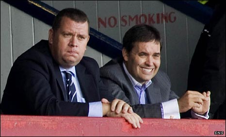 Calum Melville (right) in the Dens Park stand with Harry MacLean (left)