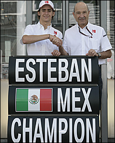 Esteban Gutierrez (left) celebrates his GP3 win with Sauber boss Peter Sauber