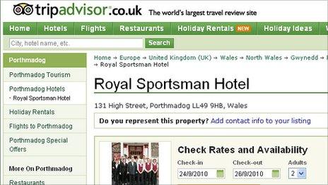 Screen grab of the TripAdvisor website featuring the Royal Sportsman Hotel
