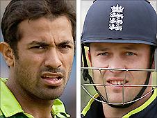 Pakistan's Wahab Riaz (left) and England batsman Jonathan Trott