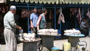 Butcher's shop at the Sangin bazaar