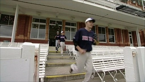 Baseball teams on cricket ground