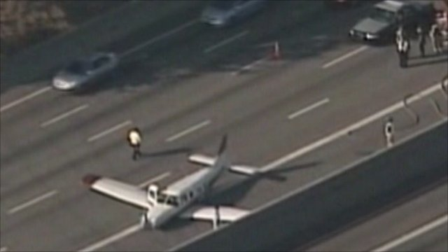 Plane Lands On Busy Highway In Atlanta Bbc News