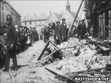 The aftermath of bombing in Bury St Edmunds