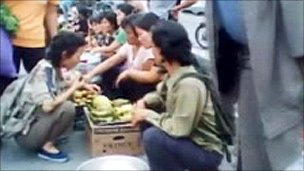 Secret footage shot at a market in North Korea