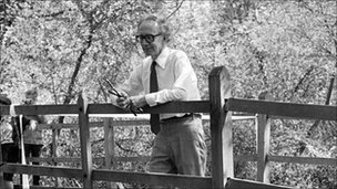 Christopher Milne, the son of AA Milne, on the bridge in Ashdown Forest