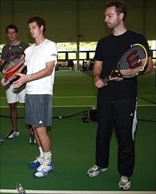 The Telegraph's Mark Hodgkinson, Andy Murray and BBC Sport's Piers Newbery