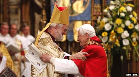 Pope Benedict XVI and the Archbishop of Canterbury celebrate evening prayer at Westminster Abbey