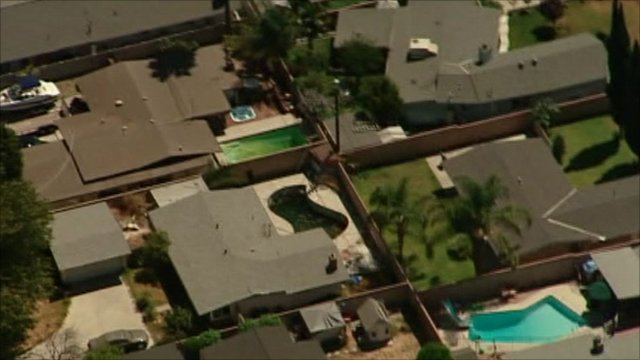 Aerial view of California houses