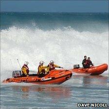 St Agnes RNLI D class lifeboat and Arancia Inshore lifeboat