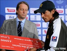 England and Wales Cricket Board chairman Giles Clarke and Pakistan paceman Mohammad Amir