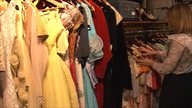 Vintage clothing in a shop