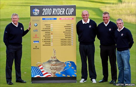 Ryder Cup captain Colin Montgomerie and Europe's vice-captains