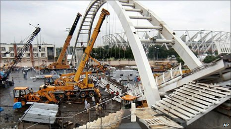 Collapsed bridge at Commonwealth Games