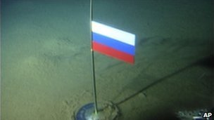 A titanium flag planted by the Mir-1 mini submarine on the Arctic Ocean seabed (2 August 2007)