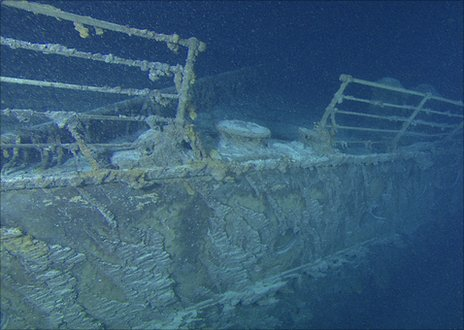 The Titantic's bow railing filmed by remote control cameras