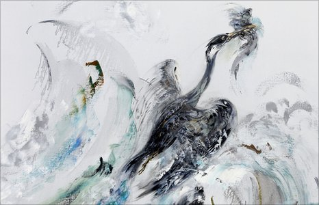Cormorant Rising From Summer Wave by Maggi Hambling