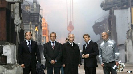 Russian Prime Minister Vladimir Putin (centre) visits Norilsk Nickel's copper plant in the Arctic city of Norilsk