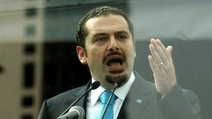 Lebanese Prime Minister Saad Hariri delivering a speech during a rally marking the fifth anniversary of the assassination of his father, 14 February 2010.