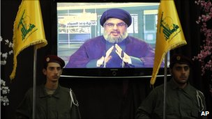 Hezbollah fighters stand guard as Hezbollah leader Hassan Nasrallah speaks through a video link in the occasion of Jerusalem Day in the southern suburb of Beirut, Lebanon, Friday, 3 September 2010