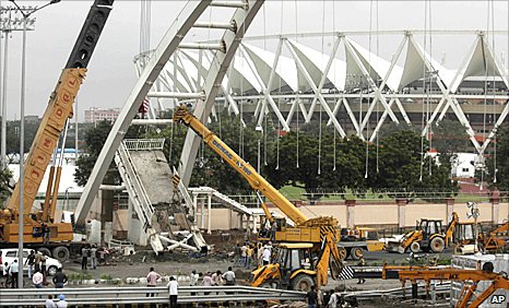 A bridge collapses in Delhi