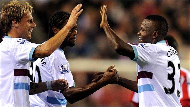West Ham celebrate Victor Obinna&amp;apos;s goal  