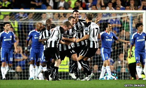 Newcastle player's celebrate Ryan Taylor's goal