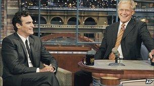 Joaquin Phoenix and David Letterman