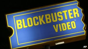 A Blockbuster store sign