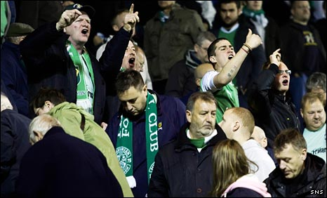 Hibs fans show their anger at Rugby Park