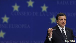 EU Commission President Jose Manuel Barroso addressing a news conference in September
