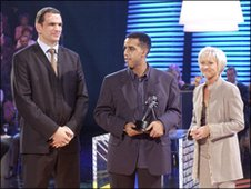 Abdullah Ben Kmayal with Martin Johnson and Sue Barker