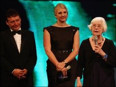 Doreen Adcock with Jimmy White and Rebecca Adlington