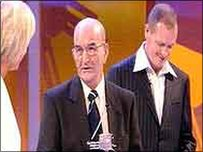 Nobby Woodcock with Paul Gascoigne and Sue Barker