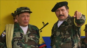 Farc military commander Jorge Briceno, aka Mono Jojoy (R) with the Farc's then leader Manuel Marulanda - 29 April 2000 file photo