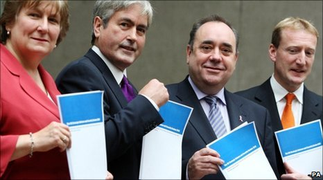 Annabel Goldie, Iain Gray, Alex Salmond and Tavish Scott