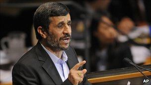 Mahmoud Ahmadinejad speaks at the UN General Assembly on 23 September 2010