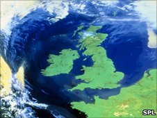 Weather satellite image of Great Britain and Ireland