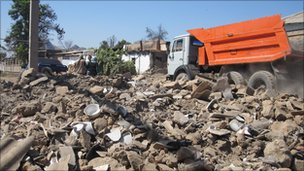 Rubble on streets of Sharq