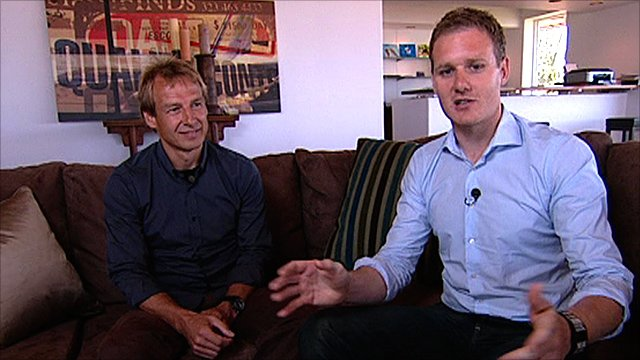 German football legend Jurgen Klinsmann and Football Focus presenter Dan Walker