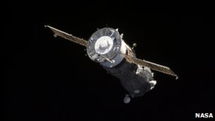 A Soyuz space capsule leaving the International Space Station (image from 2001)