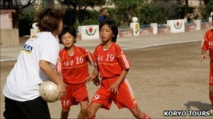 Middlesbrough Ladies coaching at a North Korea school