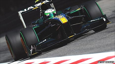 A Lotus Racing car driven by Heikki Kovalainen