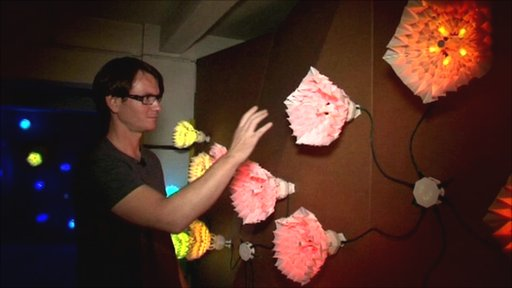 Artist with installation at Ars Electronica in Linz, Austria
